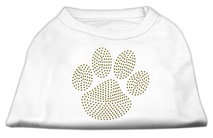 Gold Paw Rhinestud Shirt White M (12)